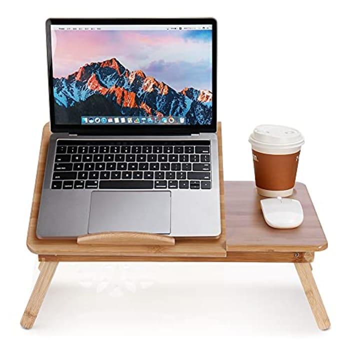 Bamboo Tilt & Folding Laptop Table - 49.5x30x18cm