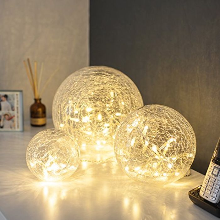 Set of 3 Fairy Light Orbs Crackled Glass Balls Battery Operated Warm White LEDs