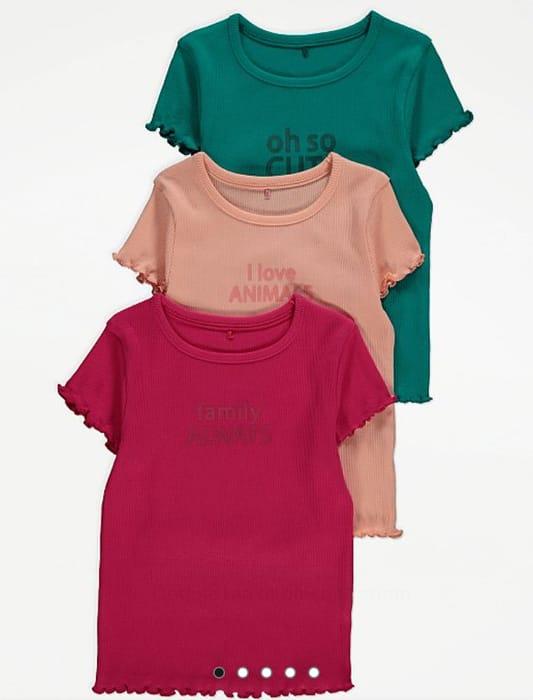 3 Pack Slogan Ribbed T-Shirts - 1-2 Years