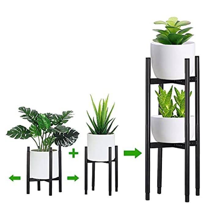 Codream Adjustable Indoor Plant Stand - 2 Pack Black - Only £9.99!