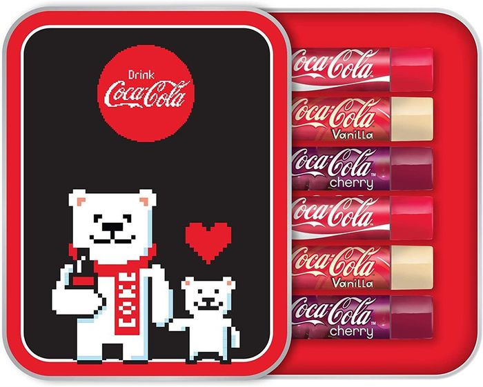 Six Assorted Coca Cola Lip Balms Tin