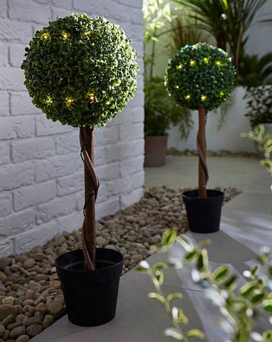 Set of 2 Artificial Topiary Lit Ball Trees