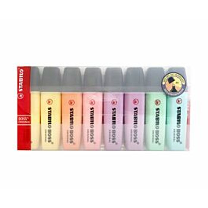 STABILO BOSS Pastel Highlighters Pack of 8 Assorted