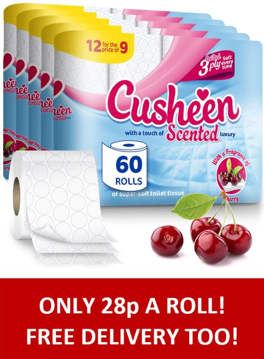 BARGAIN! 60 Cusheen Quilted 3 Ply Toilet Rolls + FREE DELIVERY