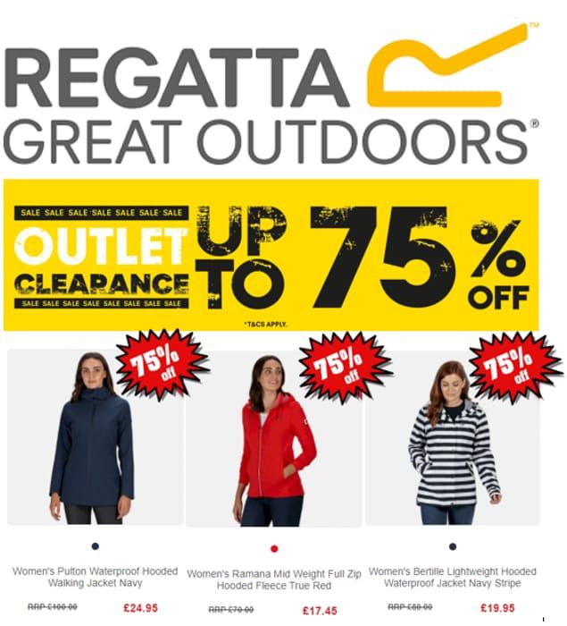 REGATTA CLEARANCE - up to 75% OFF Jackets, Coats & Fleece