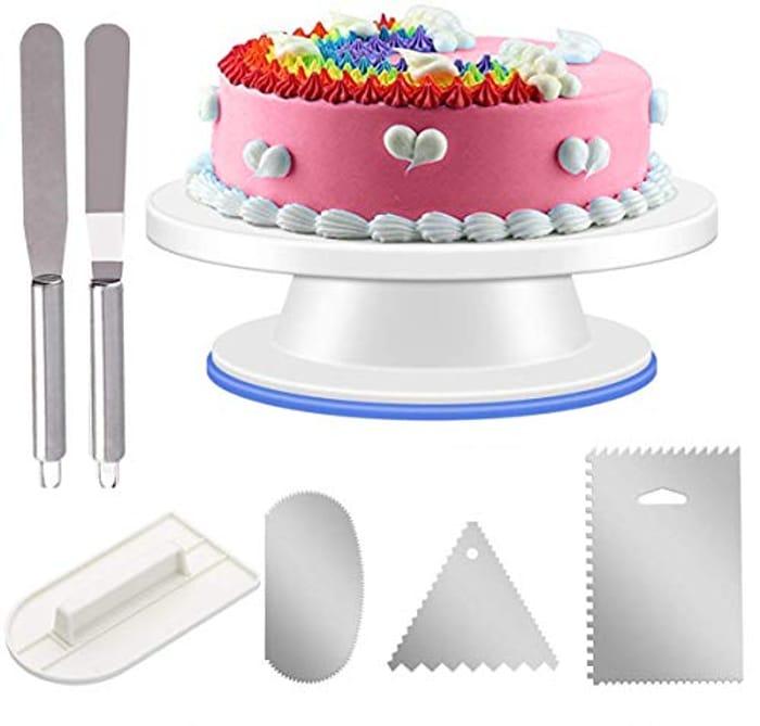 URMI Rotating Cake Turntable + 6pcs Accessories