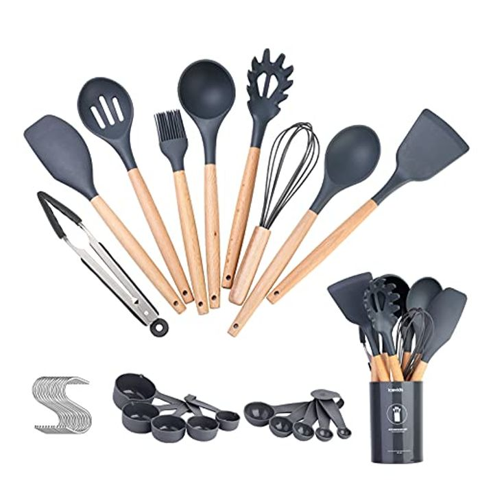 Icekids 30pcs Heat Resistant Silicone Utensil Set with Wooden Handles
