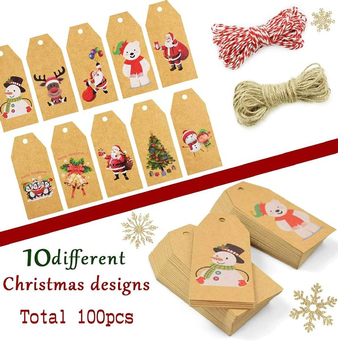 100 Pieces Christmas Kraft Tags - 10 Designs