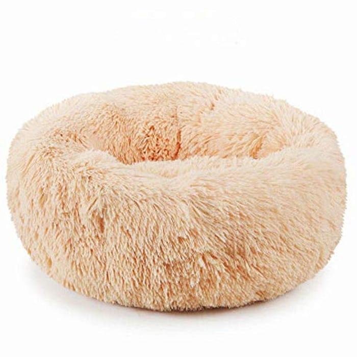 Medium Plush Donut Pet Bed - Beige