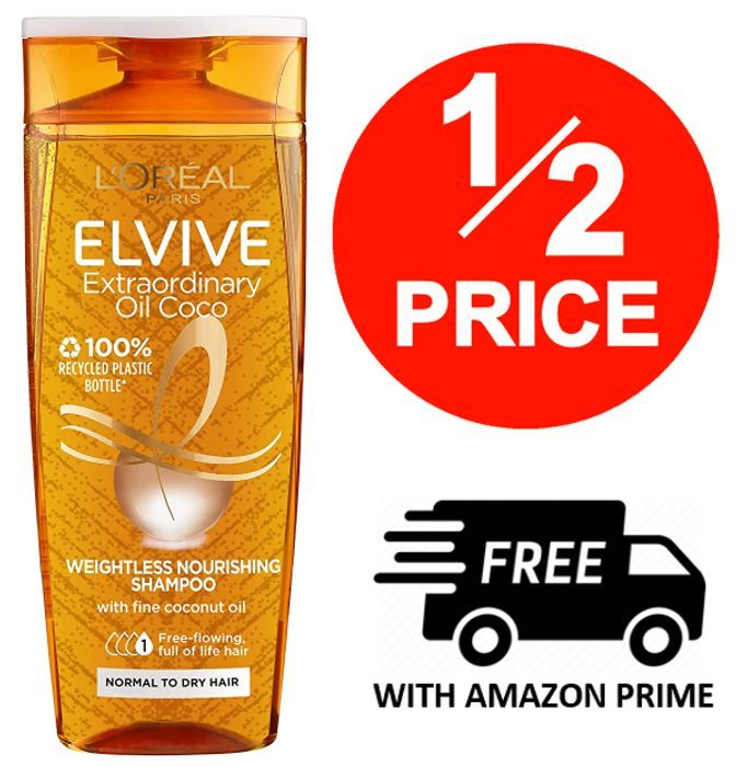 L'Oreal Elvive Extraordinary Oil Coconut Shampoo, 250ml (Even More off with S&S)