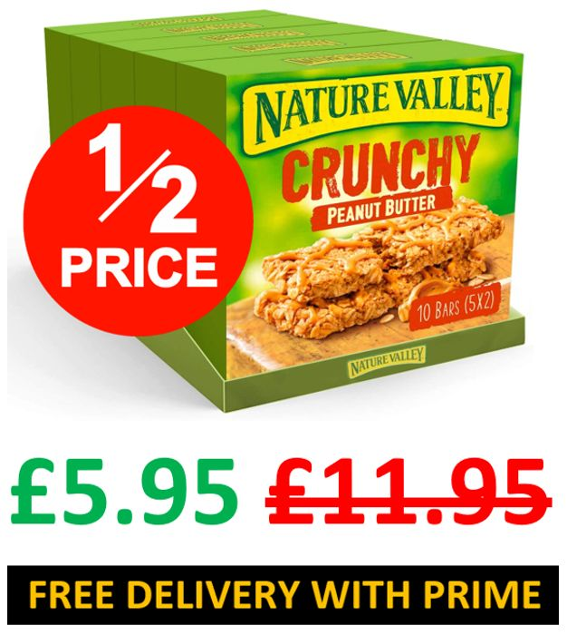 25 Nature Valley Crunchy Peanut Butter Cereal Bars