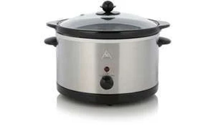 George Home 3L Slow Cooker - Stainless Steel 3 Litre