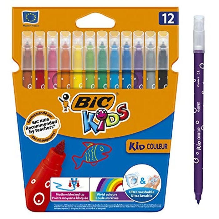 CHEAP PRICE! BIC KIDS - Ultra Washable Felt Tip Pens - Pack of 12