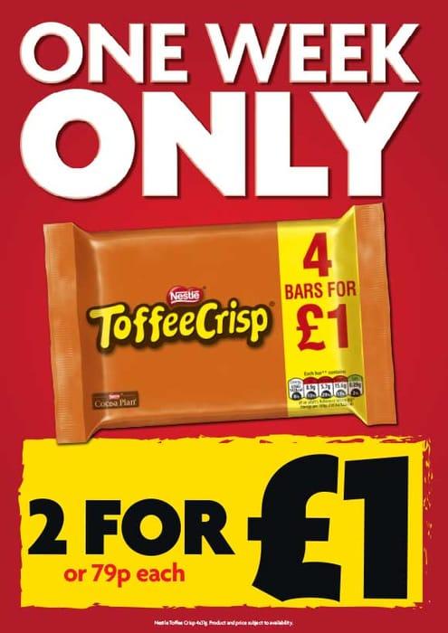 Buy 2 Packs of Toffee Crisp 4pk for £1