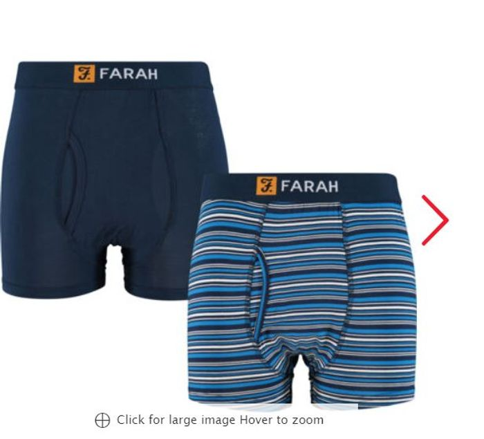 FARAH Two Pack Navy Boxers