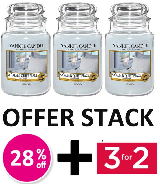 OFFER STACK - Yankee Candle Large Jar - A Calm & Quiet Place