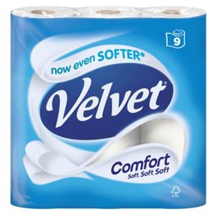Velvet Comfort Toilet Tissue 9 per Pack