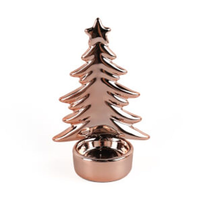Rose Gold Ceramic Christmas Tree Candle Holder
