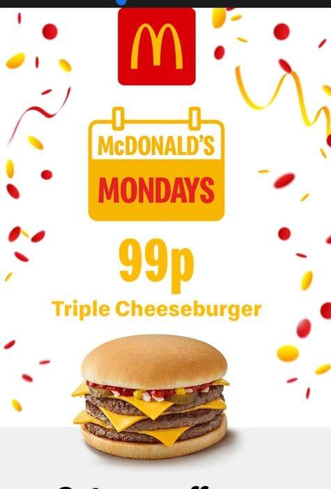 Today Only - 99p McDonald's Triple Cheeseburger Via App
