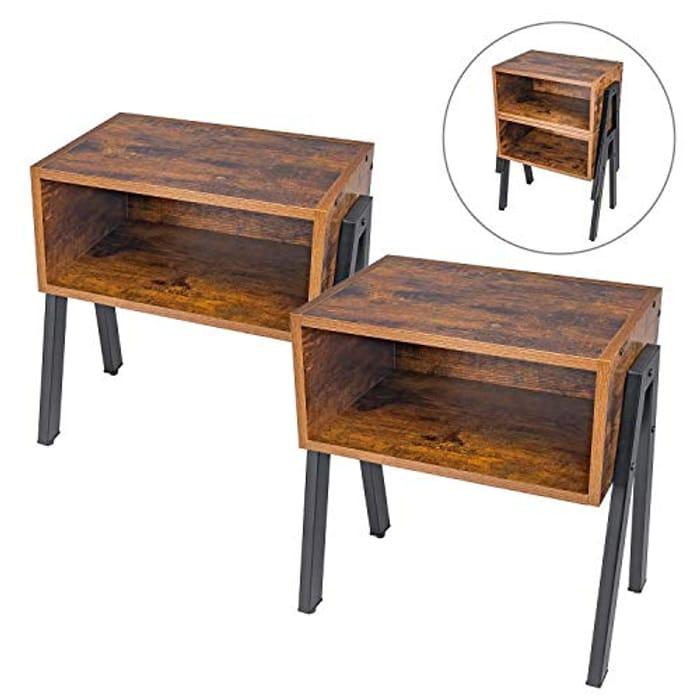 HOMEKOKO Industrial Side Table, Set of 2 - Only £26.99!