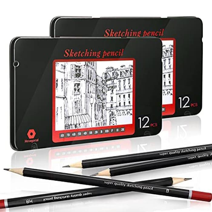 24pcs Professional Sketch Pencil Set