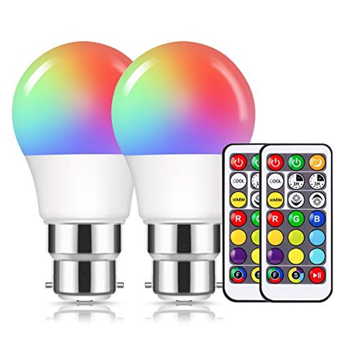 2 Pack B22 Colour Changing LED Light Bulbs + Remote