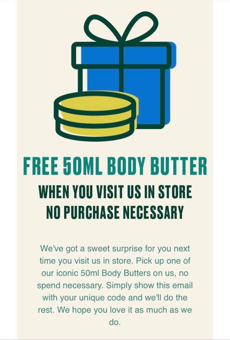 Free Body Shop 50ml Body Butter or Account Holders, Just Check Your Emails