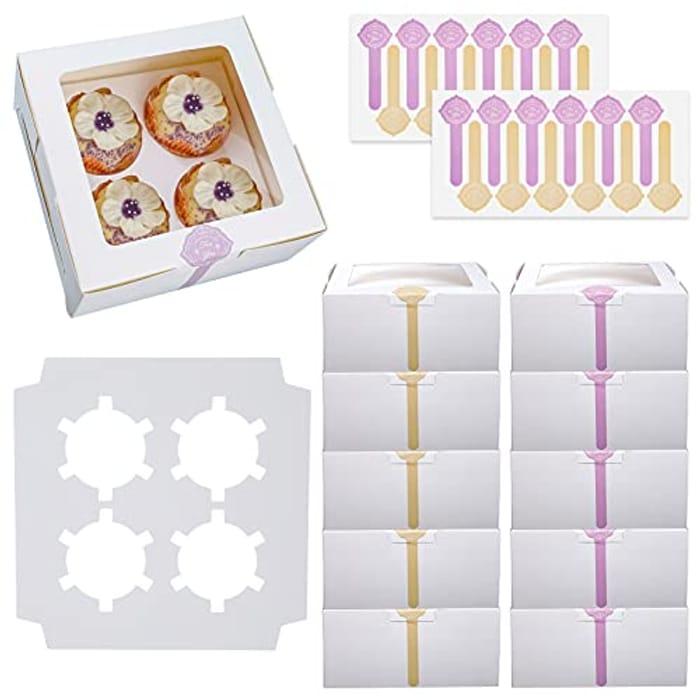Heyu-Lotus 10 Pack 4 Hole Cake Boxes