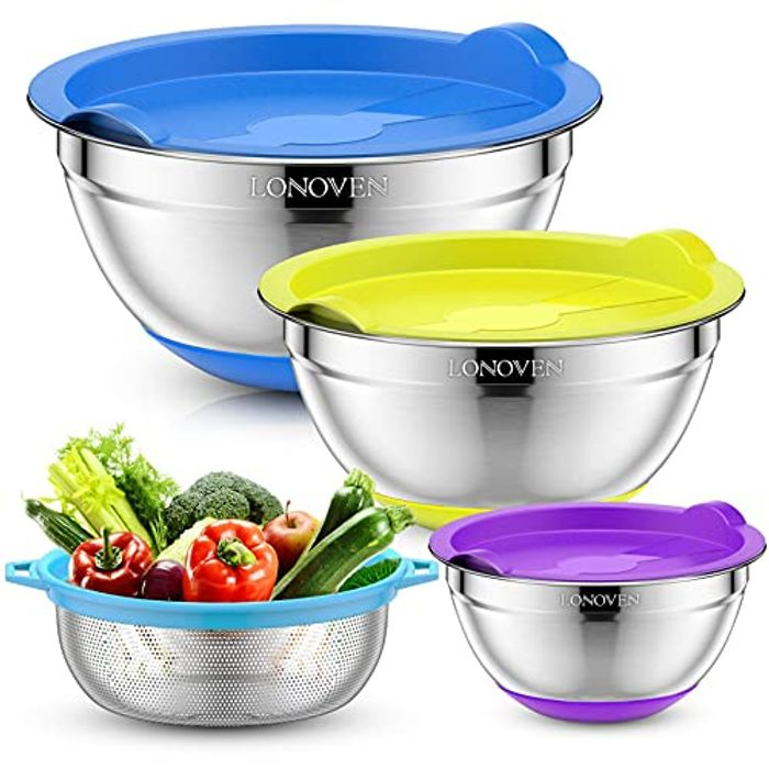LONOVEN 6pcs Colorful Stainless Steel Metal Mixing Bowls