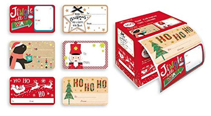 Pack of 150 Self Adhesive Christmas Gift Wrapping Labels - 6 Designs