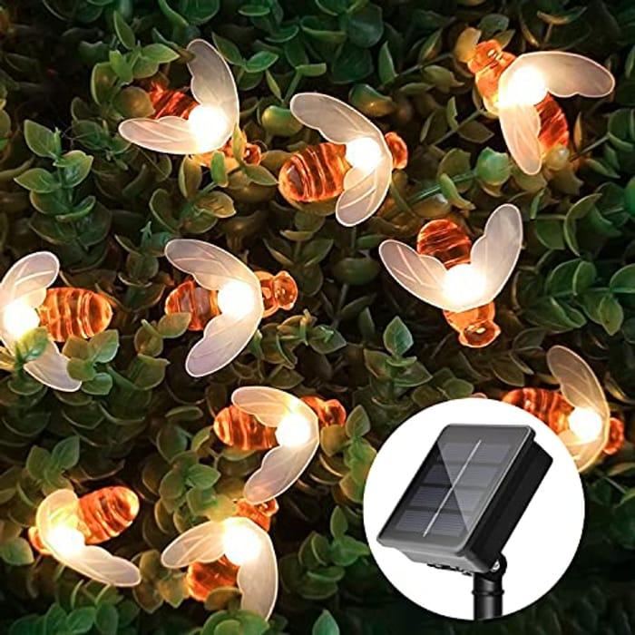 Waterproof Honey Bee Solar String Lights