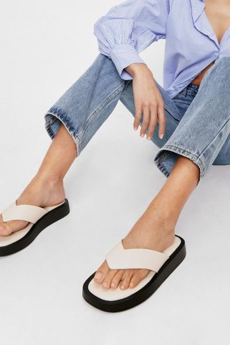 NastyGal Faux Leather Toe Thong Flatform Sandals Free Delivery