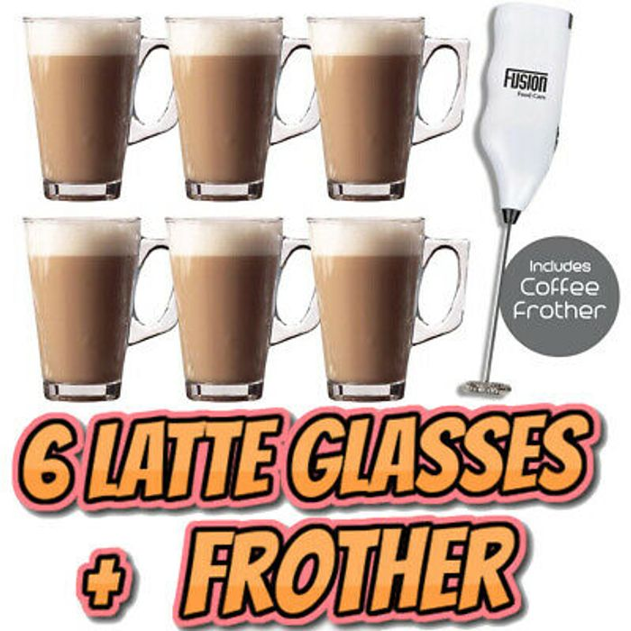 6 X Latte Coffee Glasses and Cappuccino Frother Lattes Tea Glass Cups Mugs Set