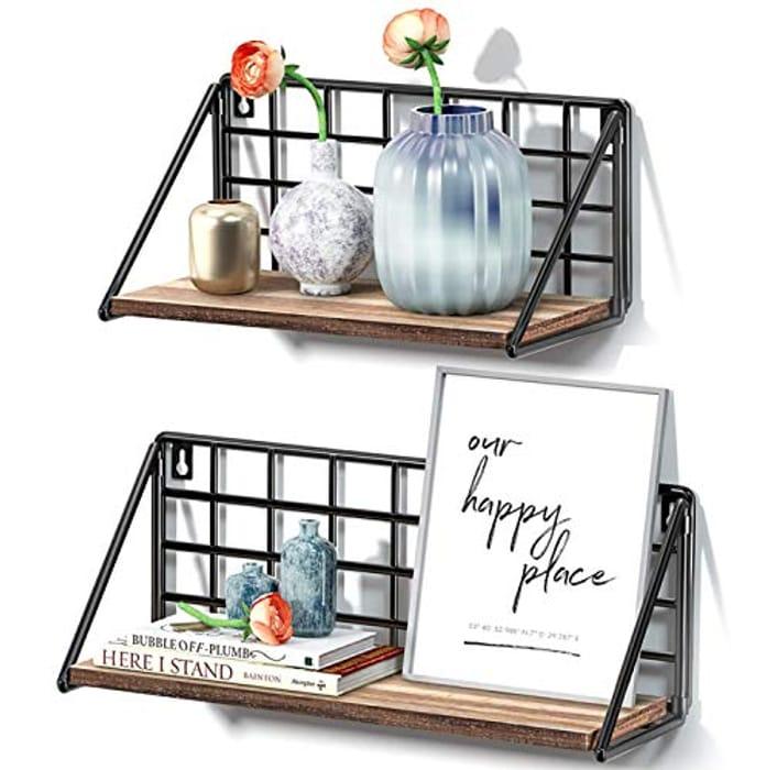 STOREMIC Floating Shelves 30 & 40cm Rustic Set of 2