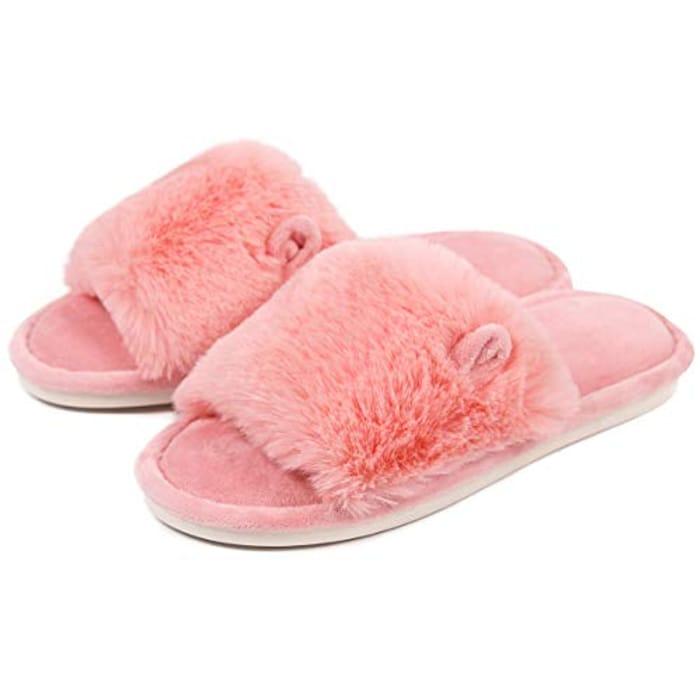 Caramella Women's Open Toe Bunny Slippers