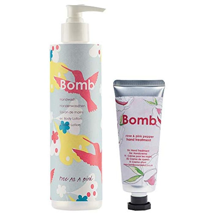 2 Pack Bomb Cosmetics Free as a Bird Hand Wash and Hand Treatment Bundle 325ml