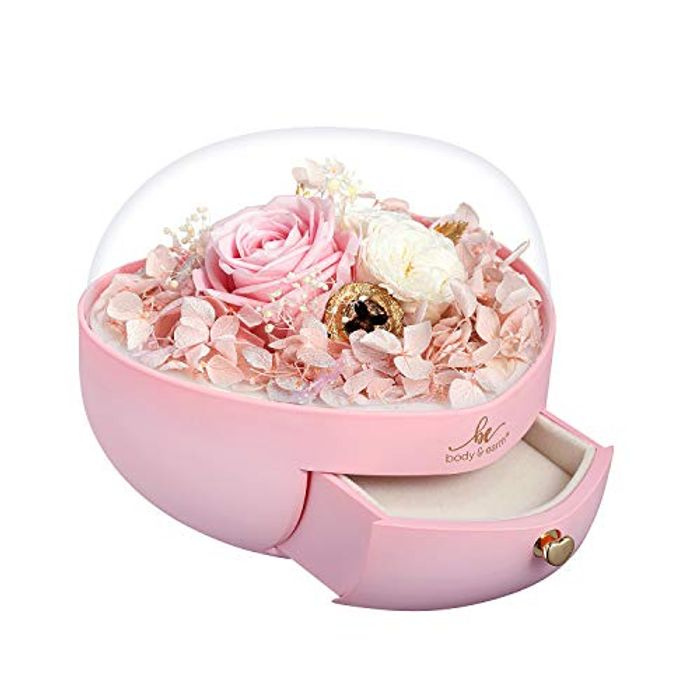 BODY & EARTH 3 Preserved Real Roses in Heart Shape Jewellery Gift Box