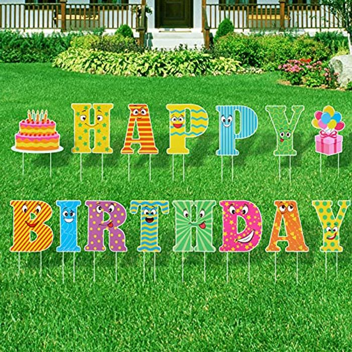 ABOOFAN Happy Birthday Yard Sign with Stakes