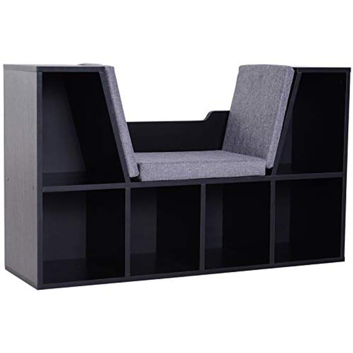 Bookcase Shelf Storage Seat with Cushion