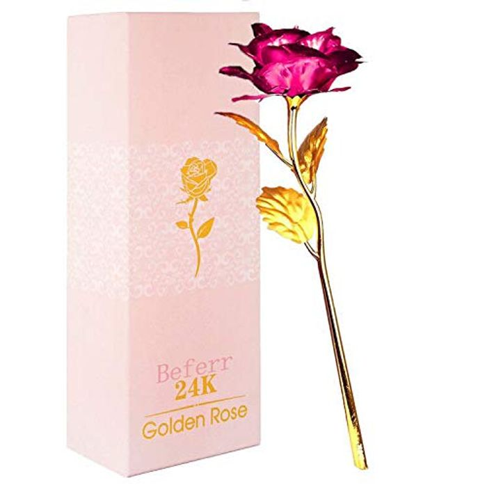 Beferr 24k Gold Plated Plastic Galaxy Rose Artificial Forever Rose - Only £3.49!