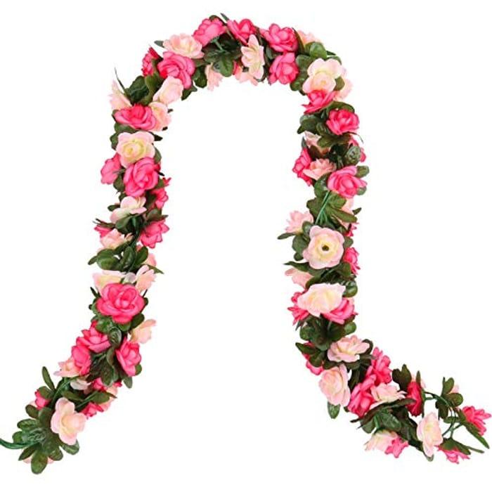 Beferr 2 Pcs Artificial Rose Flower Garlands - 98.4ins