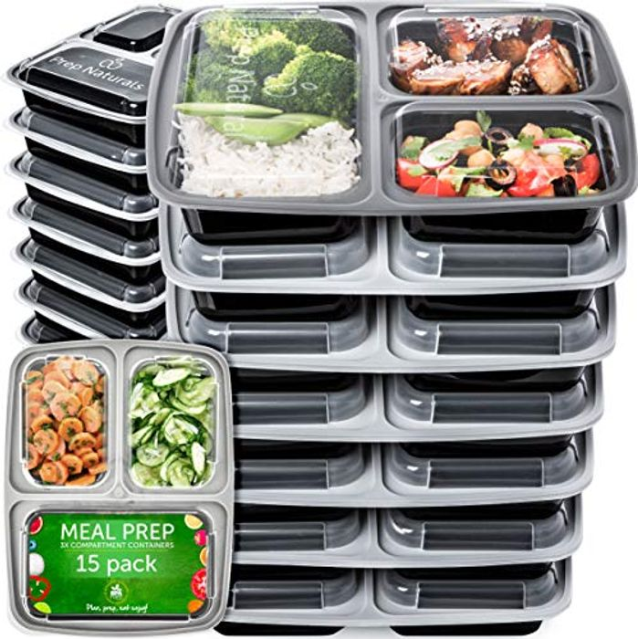 15 Pack of 3 Compartment Meal Prep Containers Reusable with £10 off Coupon