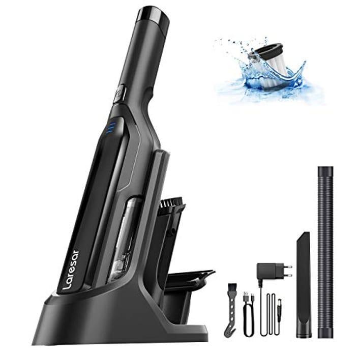 LIGHTNING DEAL - Laresar USB Fast Charging Handheld Vacuum Cleaner with LED