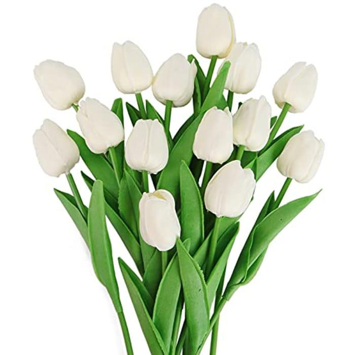 Beferr 14 Pcs Artificial Decorative Fake Tulips Flowers Bouquet - Only £4.99!