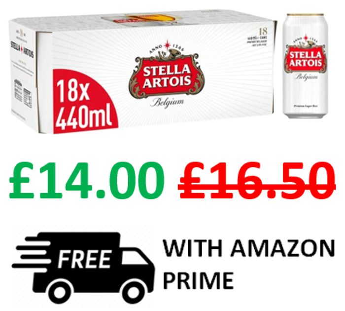 Amazon #1 Best Seller - Stella Artois Premium Lager Beer Can, 18 X 440ml