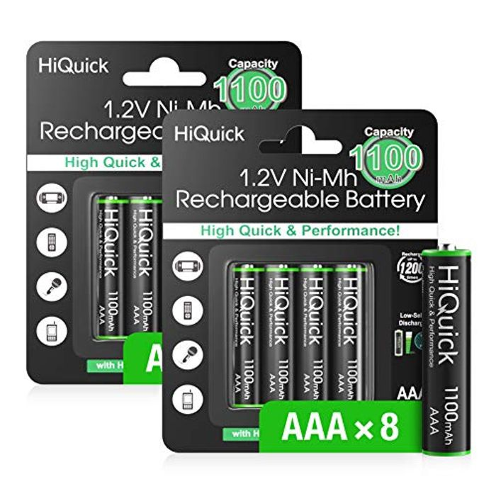 HiQuick 8 Pack AAA Rechargeable Batteries 1100mAh
