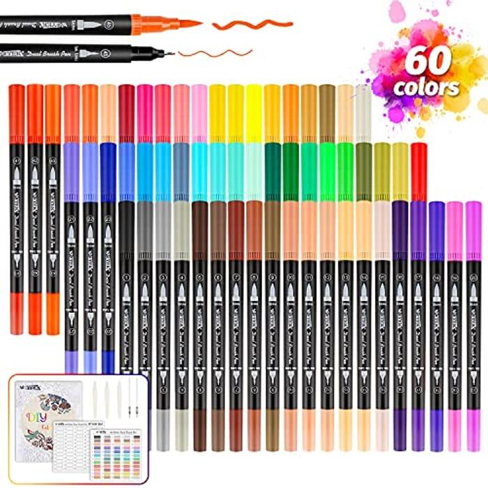 60pcs Dual Tip Brush Pens