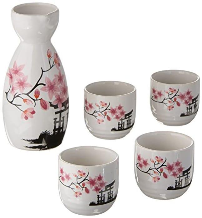Pink Porcelain Japanese Sake Set