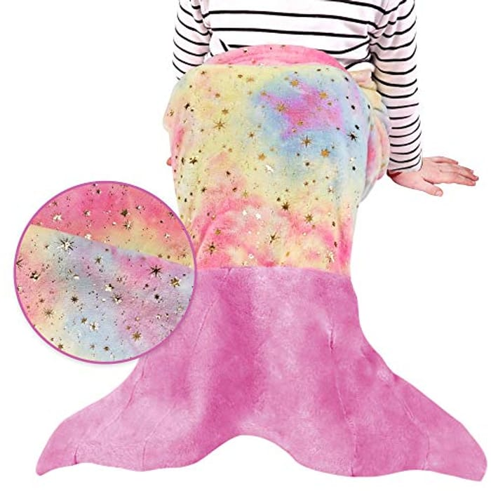 Colorful Shining Softan Mermaid Tail Blanket for Kids - Only £10.89!