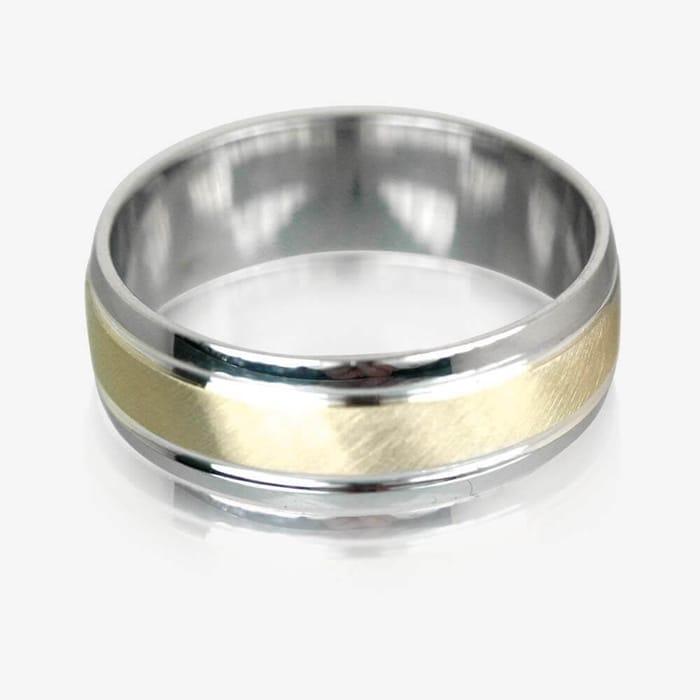 9ct Gold & Silver Heavyweight Men's Wedding Ring 7mm